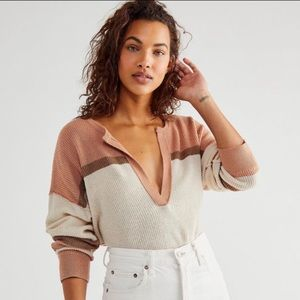 NWT Free People Brixton Henley Sweater Cashmere Blend